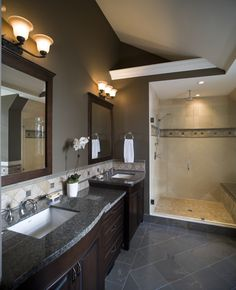 A big part of this bathroom remodel was adding his and her sinks. There are other benefits of remodeled bathrooms.