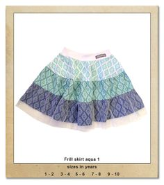 Sillybilly© clothing:  Frill skirt aqua 1 Frill Skirts, Summer Collection, No Frills, Aqua, Summer Dresses, Girls, Clothing, Fashion, Outfits