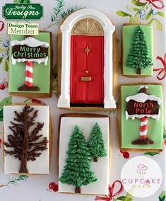 Yummy Christmas cookies by made using our Classic Door, Christmas Sign Posts, Fir Trees and Little Tree silicone moulds. We can just imagine a stack of these wrapped up as a gift! Christmas Signs, Christmas Holidays, Merry Christmas, Christmas Cakes, Christmas Ornaments, Kirsties Handmade Christmas, Edible Paint, Holiday Cupcakes, Cake Craft