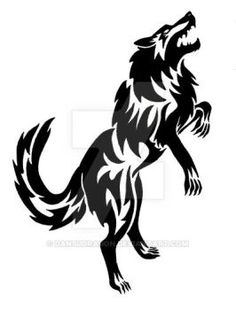 Standing Fenrir Wolf  Tattoo by DansuDragon