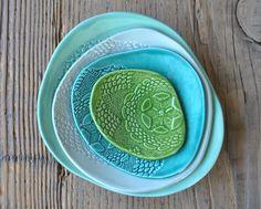 Lot de 4 Turquoise poterie vaisselle par AyseSakarcanCeramics