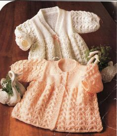 British baby knitting pattern for 2 matinee coats/jackets/sweaters To fit sizes 14 through to 18 inch chest. Uses DK (Aus 8 ply) (US Light worsted)
