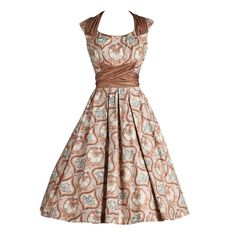 1950's Marjae of Miami Polished Cotton Victorian Novelty Print Dress