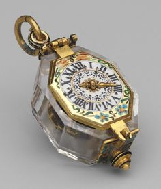 Watch, c. 1630 - 1640. Movement by Johann Possdorffer, The case is made of rock crystal and gold, and partly enameled. The dial is painted enamel on gold, with a single gold hand. The movement is made of gilded brass and steel