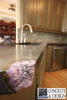 Concrete Kitchen Counter tops - mineral inlay