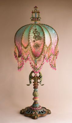 Christine Kilger's Nightshades are one-of-a-kind victorian lampshades with hand-beaded shades on period lighting fixtures and are designed and created with rare antique fabrics, appliqués and embellishments circa Victorian Lamps, Antique Lamps, Antique Lighting, Vintage Lamps, Antique Art, Deco Retro, Painting Lamps, I Love Lamp, French Fabric
