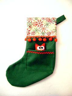 Felt Christmas Stocking  Pocket Peeper Owl  Home by RedMarionette, $35.00