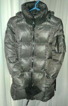 Ladies SAM New York Goose Down Puffer Jacket Dark Gray XS Ski Jacket with  Hood   475228e9f