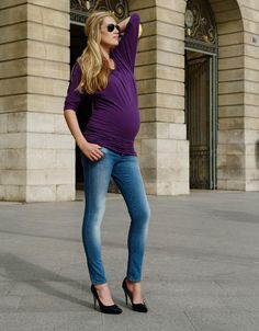 Over-Bump Ripped Skinny Maternity Jeans | On The Way Maternity ...