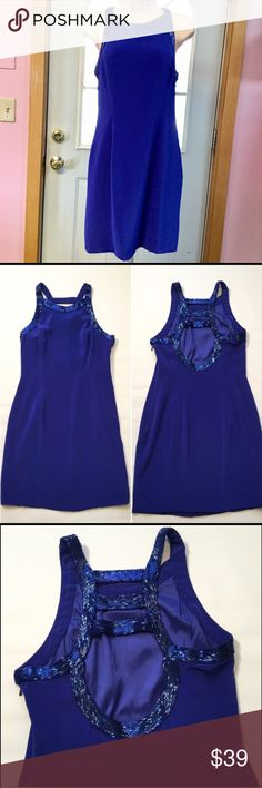 """Niteline Della Roufogali Beautiful blue. Size 8P. Bust approx 34"""" length approx 34.5"""". Filling lined. Worn once. ⚠️ small damage to the sequins on one shoulder strap. Barely noticeable. See photo above. Niteline Della Roufogali Dresses Mini"""