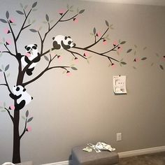 Birds and Tree Wall Decal Tree Wall Painting, Simple Wall Paintings, Wall Painting Living Room, Creative Wall Painting, Tree Design On Wall, Tree Wall Decor, Panda Tree, Wal Art, Butterfly Wall Decals