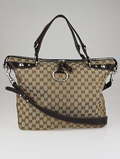 770aedb5301a Gucci Beige Ebony GG Canvas Large Icon Bit Top Handle Bag