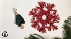 Super easy Macrame Christmas Tree and Snowflake ornaments tutorial. Holiday Tree, Christmas Tree, Christmas Ornaments, Holiday Decor, Snowflake Ornaments, Snowflakes, Ornament Tutorial, Macrame Cord, Fiber Art