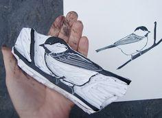 stamp bird, lino cut and printing