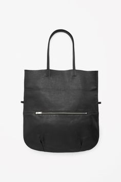 COS image 1 of Raw-edge leather shopper in Black Shopping Totes, Glamour, Stitch Fix Stylist, Raw Edge, Minimal Fashion, Fashion Brand, Leather Bag, Purses And Bags, Shoulder Bag