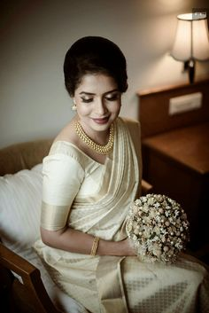 Indian bridal wear engagement saree Ideas for 2019 White Saree Wedding, Kerala Wedding Saree, Bridal Sarees South Indian, Bridal Sari, Kerala Bride, Indian Bridal Wear, Indian Saris, Kerala Saree, Tamil Wedding