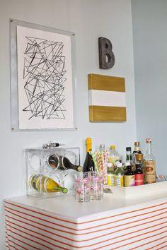 DIY skirted bar table, DIY acrylic framed art, bar styling designPOST interiors