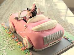 Minnie Mouse Car Cake Minnie Mouse Car, Mickey And Minnie Cake, Bolo Minnie, Minnie Mouse Birthday Cakes, Mickey Cakes, Baby Mickey, Mickey Birthday, Mini Mouse Cake, Car Cake Tutorial