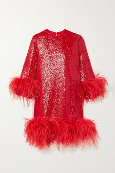 EXCLUSIVE AT NET-A-PORTER. 16ARLINGTON founders Marco Capaldo and Federica Cavenati say they design for a good time - it's won them fans like Lady Gaga and Solange Knowles. This 'Billie' dress is cut from red sequinned crepe, which glitters and gleams as it catches the light. It's split up to the thigh and the hem and cuffs are traced with tonal feathers. Wear it with: 16ARLINGTON Tote, The Attico Pumps, Suzanne Kalan Ring. -- Red sequined crepe and feathers - Hook-fastening keyhole at back…