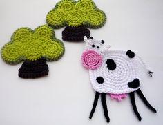Crochet Cow Coaster Pattern Cow Applique di MonikaDesign su Etsy