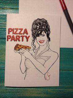 Selena Quintanilla Pizza Party Blank 5.5 x by SeaSenoritaStudios