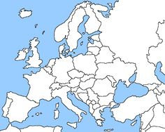 Blank map of Europe shows the political boundaries of the Europe continent…