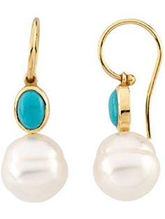 14K Yellow Gold 7 x 5 MM Oval Shaped Turquoise and Paspaley South Sea Cultured Pearl Earrings ❤ Katarina
