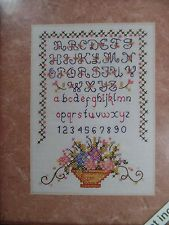 "Weekenders Flower Basket Sampler Stamped Cross Stitch 03523 NEW 5"" x 7"""