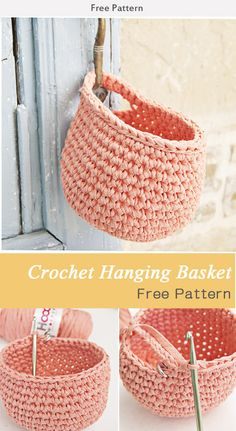 Crochet Diy Crochet Hanging Basket Free Pattern - This Crochet Hanging Basket Free Pattern is a cool homemade container to hold items! Make one with the free pattern provided by the link below. Crochet Home, Crochet Gifts, Crochet Yarn, Free Crochet, Crochet Owls, Crochet Animals, Crotchet, Crochet Stitches, Crochet Purse Patterns
