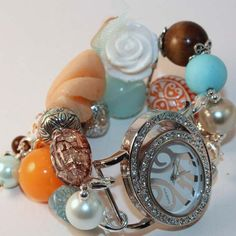 Shabby Chic Sunset Beach Interchangeable Beaded Bracelet Watch. Beaded Watch Band. Which Watch Designs - Etsy