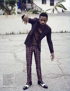 A dapper image, Lakeith Stanfield wears a Hermes suit jacket with a Neil Barrett top. The actor also dons trousers and shoes by Bally.