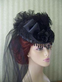 6a408c52feba0 Black Victorian Mini Riding Hat~Steampunk Style Hat~Civil War Hat~SASS Hat