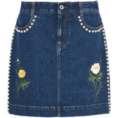 Stella Mccartney Nashville Embroidered Denim Skirt (13.744.155 VND) ❤ liked on Polyvore featuring skirts, mini skirts, bottoms, midnight, short blue skirt, blue skirt, blue mini skirt, zipper mini skirt and short mini skirts