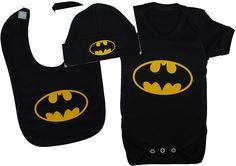 Batman Baby-Kleidungsset, Strampelanzug / Body / T-Shirt / Lätzchen und Mütze, Altersgruppe: 0-12 Monate, Schwarz: Amazon.de: Baby