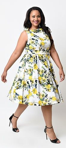 Iconic by UV Plus Size 1950s Yellow Floral April Swing Dress