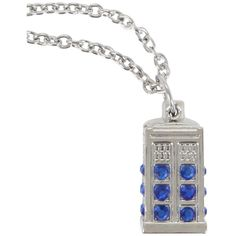Hot Topic Doctor Who TARDIS Necklace ($8.40) ❤ liked on Polyvore featuring jewelry, necklaces, black, chains jewelry, pendant necklace, gem necklace, gem pendant necklace and chain necklace