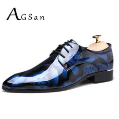 Stylish Large Size Printed Casual Dress Shoes for Men - Blue - - Shoes, Men's shoes, Business Shoes # # Leather Shoe Laces, Casual Leather Shoes, Leather Men, Patent Leather, Groom Wedding Shoes, Magic Shoes, Business Shoes, Patent Shoes, Derby Shoes