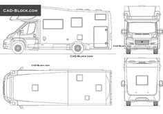 Camper Fiat Ducato CAD Block Fiat Ducato, Cad Blocks, Cad Drawing, Plan Design, Camper, Life Hacks, Floor Plans, Vehicles, Dibujo