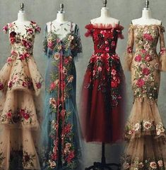 Someone please tell me some stuff about these gorgeous dresses! Who are they by, when are they from, etc… Someone please tell me some stuff about these gorgeous dresses! Beautiful Gowns, Beautiful Outfits, Simply Beautiful, Mode Editorials, Look Fashion, Fashion Design, Fashion Hair, Flower Fashion, High Fashion