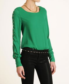 Very J Long Sleeve Conical Stud Blouse
