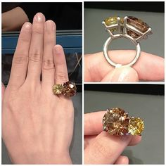 @meenauseig Intense Yellow & Brown diamond set in platinum ring By #JAR #JewelsbyJAR