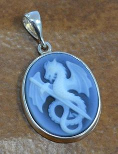 fantasy DRAGON with sword carved agate cameo + sterling silver pendant NEW Cameo Jewelry, Skull Jewelry, Dark Blue Hair, Skull Pendant, Skull Earrings, Fantasy Dragon, Sterling Silver Pendants, Sword, Agate