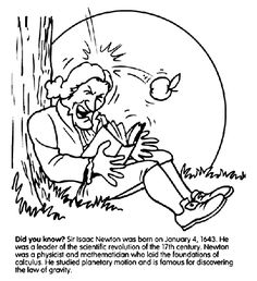 week 16 18 science 3 isaac newton gravity coloring page