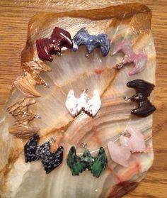 Howlite Natural Gemstone Hand Carved Crystal Bat by BellaLuna76, $14.00