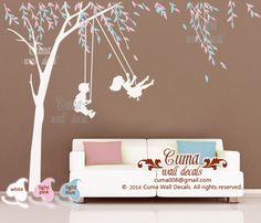 Wall Art Decals children wall decals playing swing boy girl wall sticker nursery