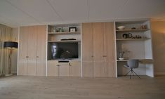 wandmeubel-massief-eikenhouten-deuren. Living Room Grey, Living Room Decor, Bed Under Stairs, Closet Layout, Office Nook, Build A Closet, Hidden Rooms, Contemporary House Plans, Living Room Remodel