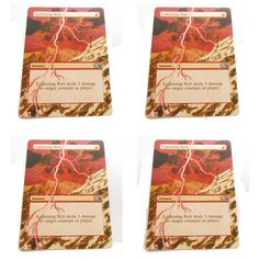 MTG Altered Painted X4 Lightning Bolt Playset M10 M11 #WizardsoftheCoast