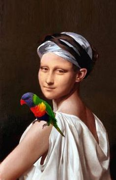 Mona Lisa with Parrot by Patrizia