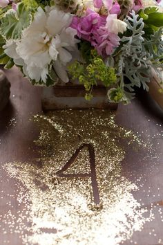 Table Numbers in Glitter - Photography: Natalie and Parker Bray Wedding Events, Our Wedding, Dream Wedding, Weddings, Wedding Stuff, Glitter Photography, Glitter Wedding, Wedding Table Numbers, Decoration Table