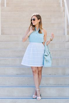 Baby Blue and White Girlie Outfit   People StyleWatch #summer4me #pmedia #ad